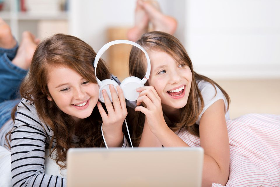 Music and dancing are great slumber party activities for the girls.