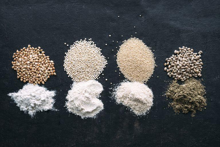 Pseudocereals and flour, Buckwheat, Quinoa, Amaranth, Hemp