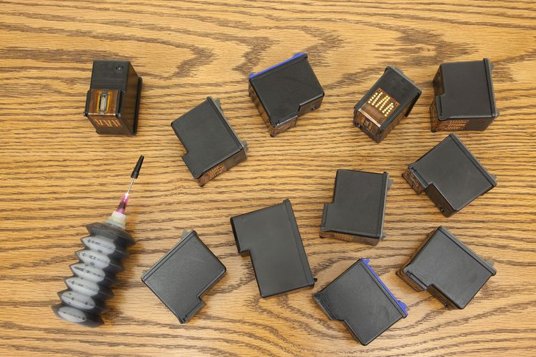 Several ink cartridges on a table