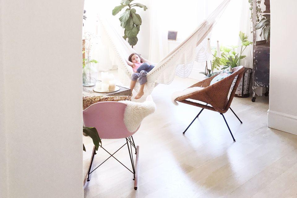 Boho Scandi Inspired Living Room White Hammock