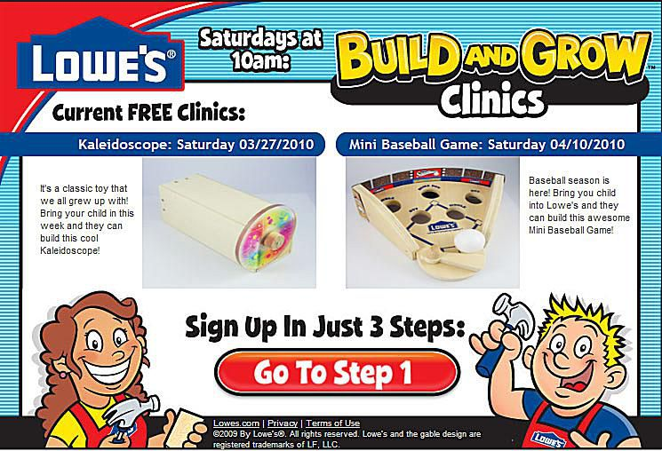 take your child to complete a free kids building project