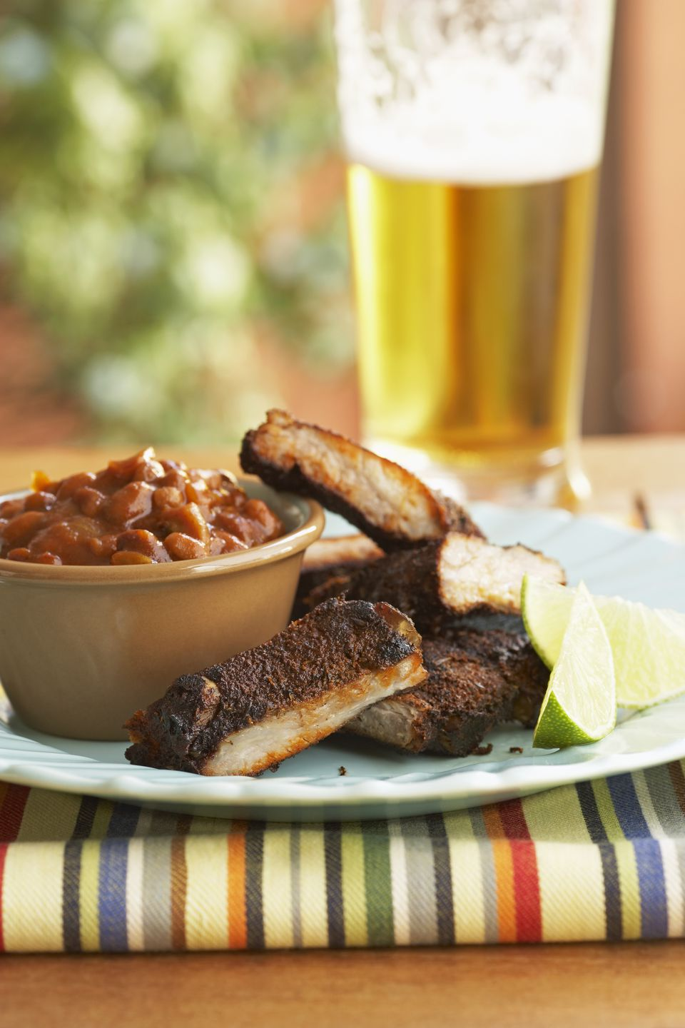 grilled ribs with barbecue beans.