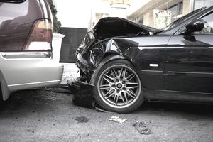 Two damaged cars after accident