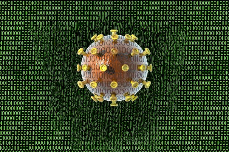 Illustration of a digital meltdown caused by a virus infection, shown by a virus ball on a green background of ones and zeros