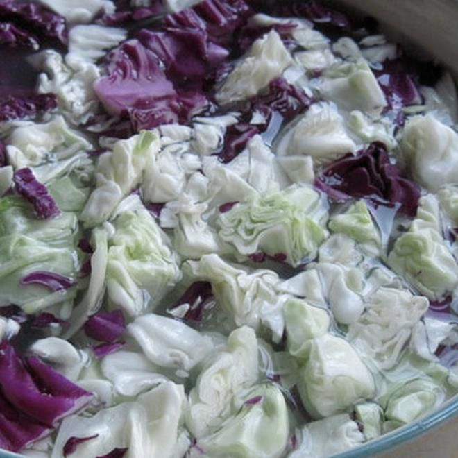 Cabbage Soaking for Homemade Raw Kim Chee Recipe