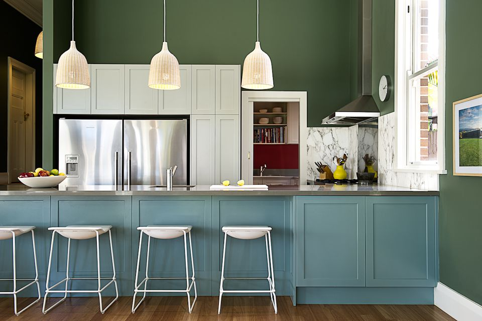 avocado and blue kitchen