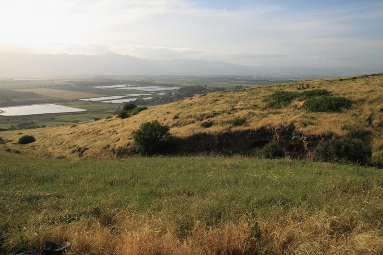 Agricultural fields and fish ponds near Paleo-Lake Hula are seen from the slopes of the Golan Heights. Israel.Apr. 2012.