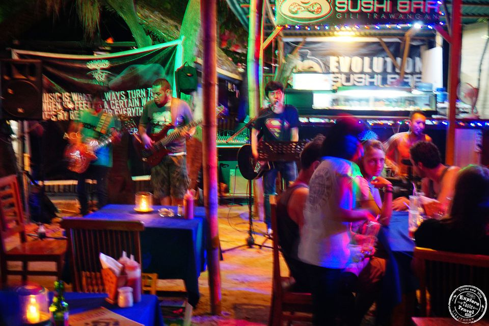Band at Gili Trawangan's Evolution Bar, Indonesia