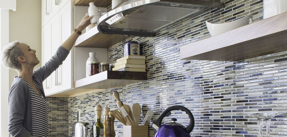 Kitchen Open Shelving and Mosaic Tile 530054791