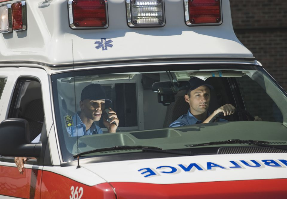 EMTs driving in ambulance