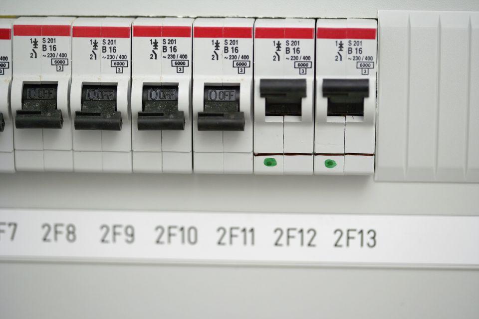 Close-up of circuit breakers