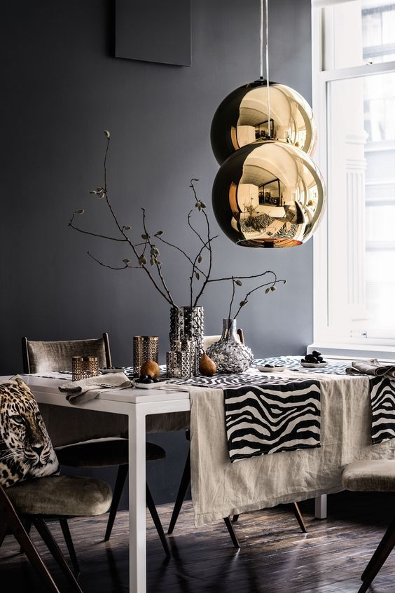 Gray Dining Room With Metallics