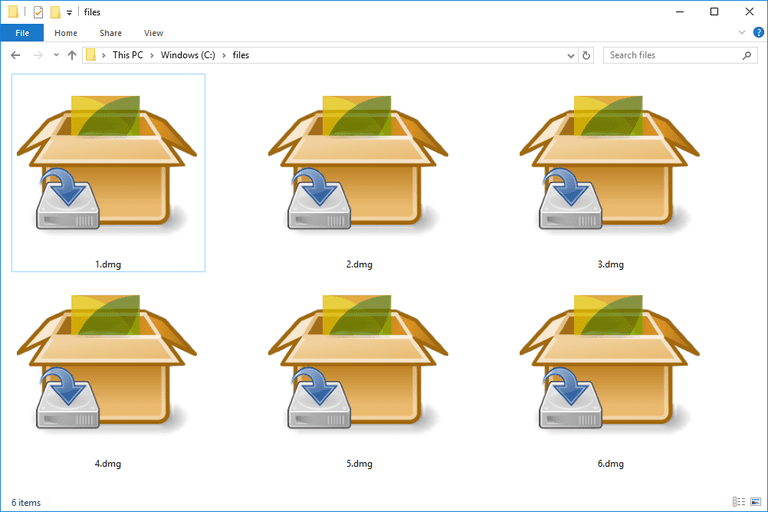 Screenshot of several DMG files in Windows that open with PeaZip