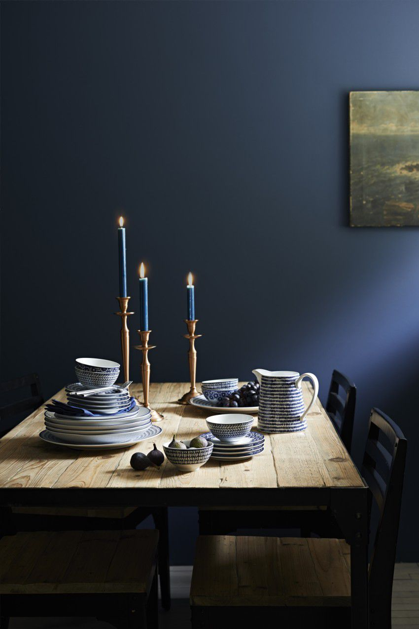 dark indigo dining room