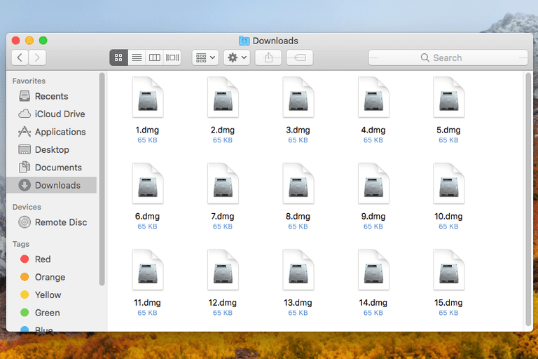 Screenshot of several DMG files in macOS High Sierra