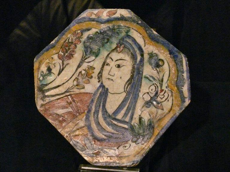 Safavid tile portrait of a woman
