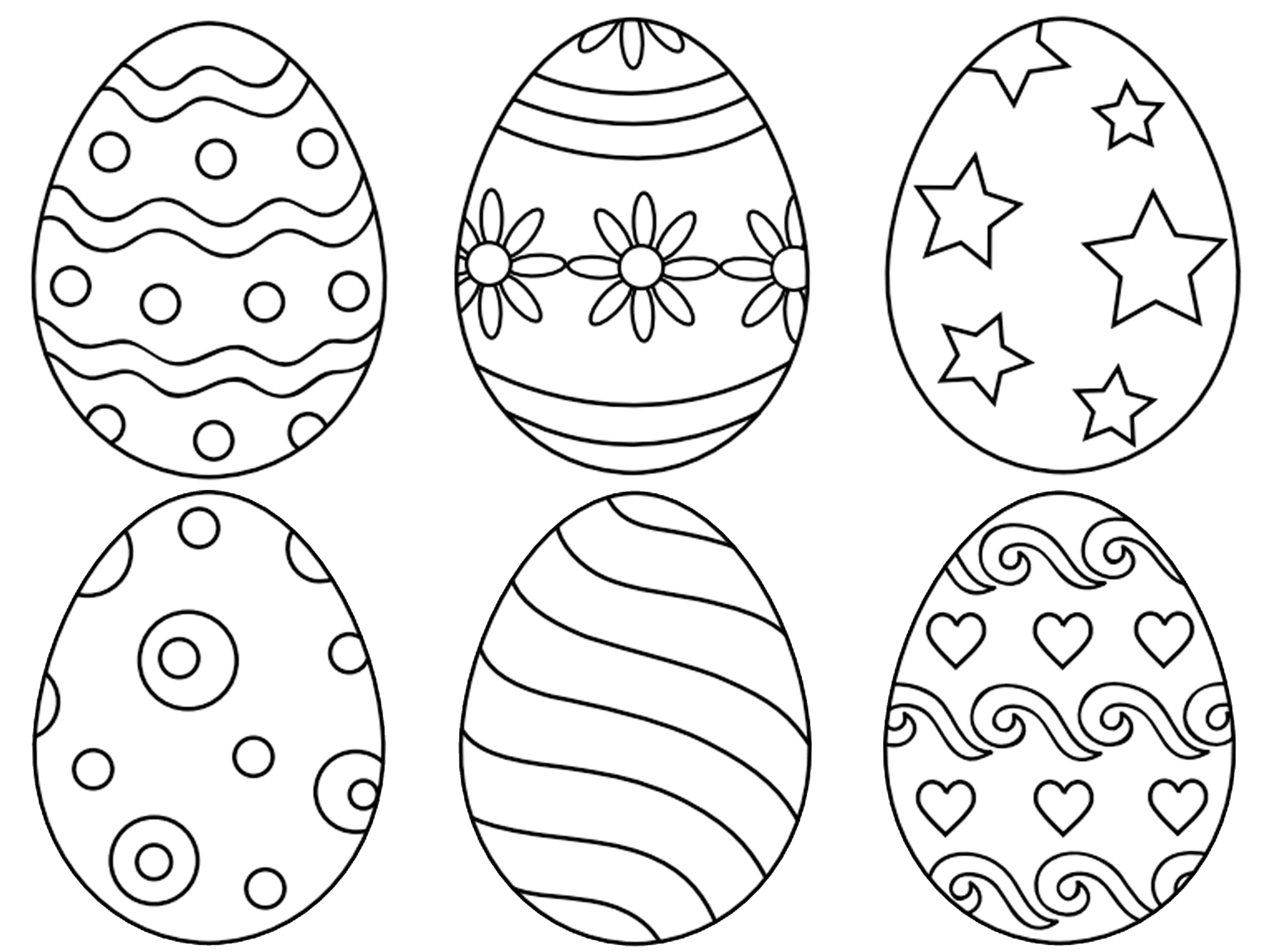 free printable easter egg coloring pages for the kids - Easter Color Pages