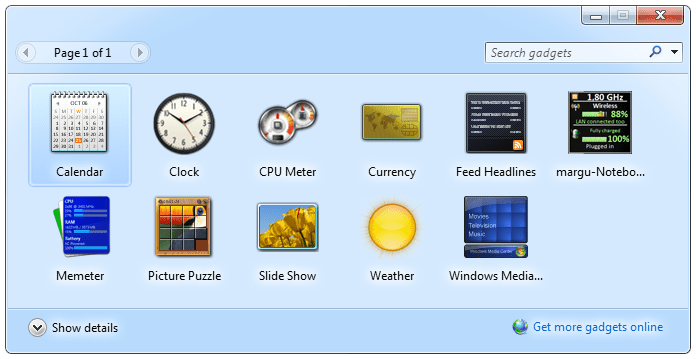 Screenshot of the Windows 7 gadgets
