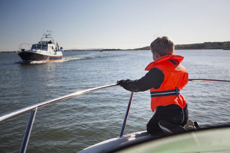 Boy sitting on Boat