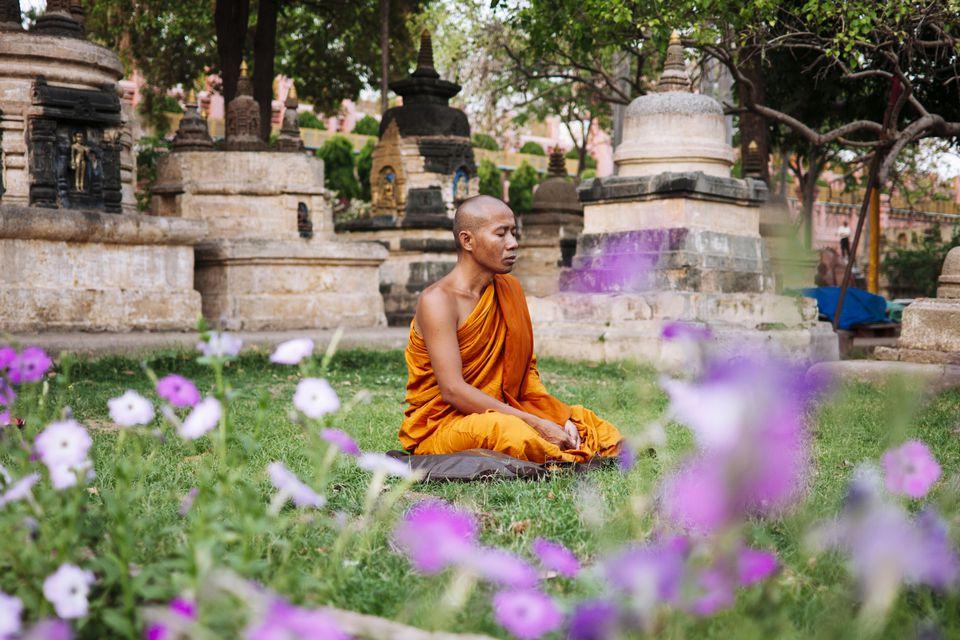 Meditating at Mahabodhi temple.