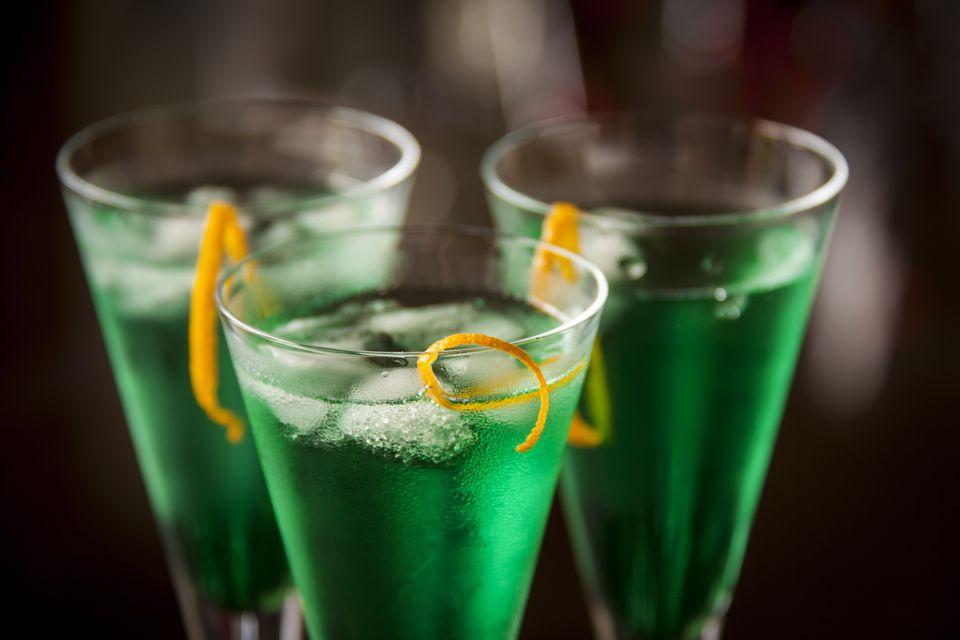 Fresh cocktail with mint liqueur