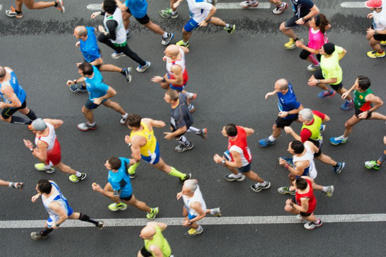 Overhead view of a group of runners in a marathon