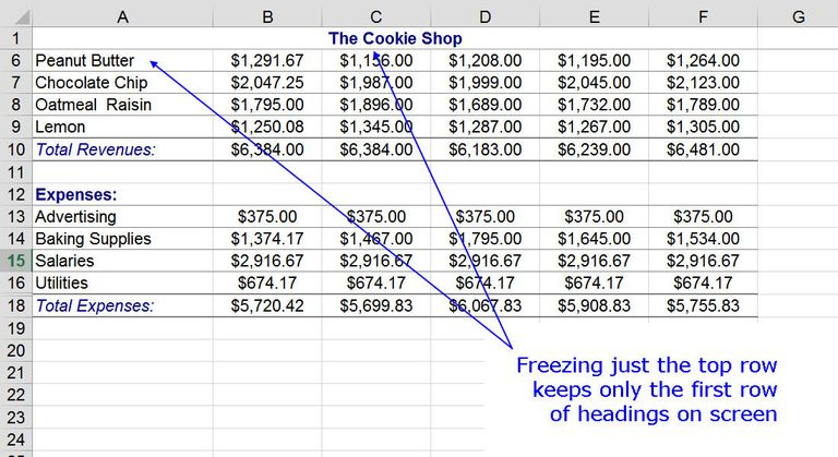 Freezing the Top Row with Freeze Panes in Excel