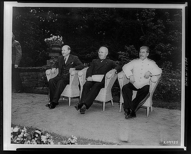 Harry Truman, Josef Stalin and Clement Atlee at Potsdam, 1945