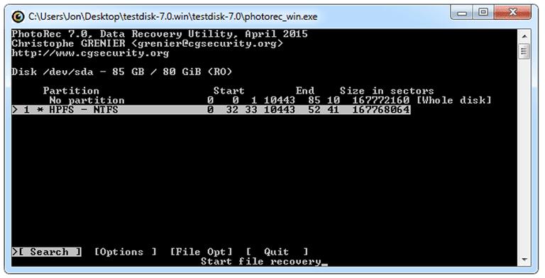 Ảnh chụp màn hình của PhotoRec v7.0 trong Windows 7