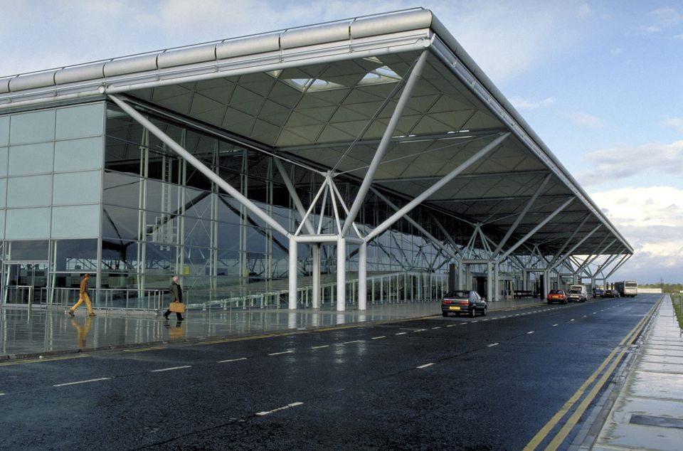 The exterior of Stansted Airport.