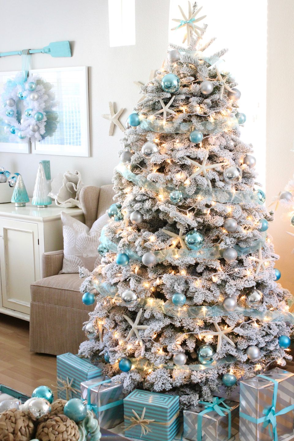 ocean inspired hues breezy designs - Beach Themed Christmas Trees