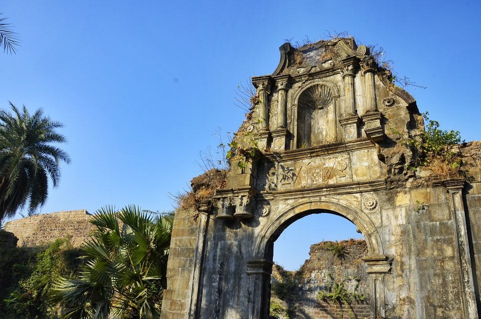 Entry gate to ruins of the citadel in Vasai Fort.