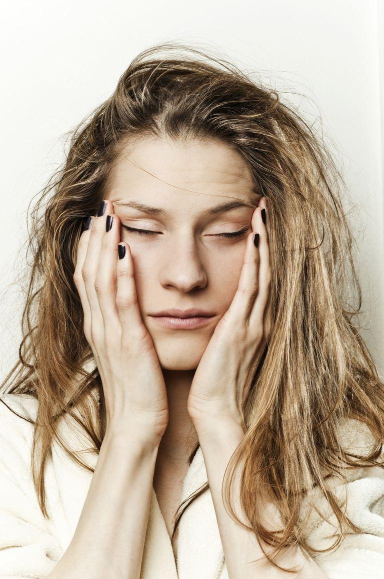 Model poses as anxious woman