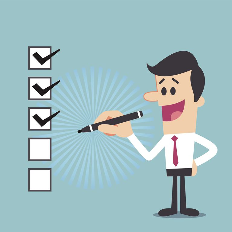Illustration of a man checking off a series of checkboxes