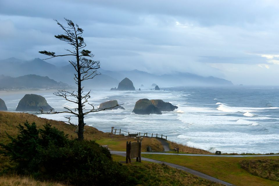 Winter Storm Rolling in at Ecola State Park in Oregon