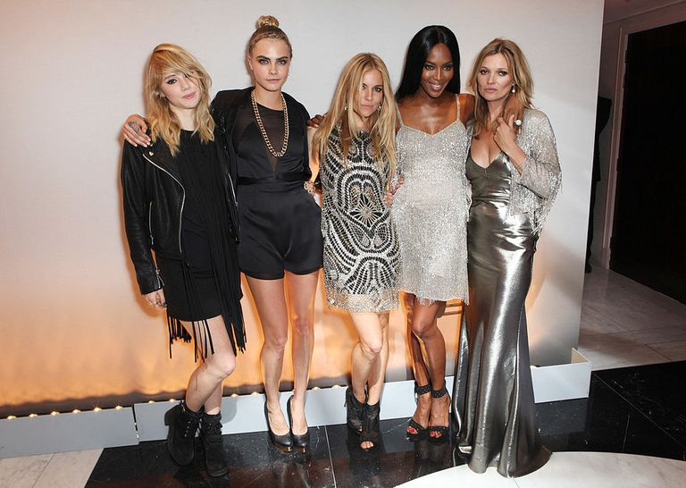 Suki Waterhouse, Cara Delevingne, Sienna Miller, Naomi Campbell and Kate Moss attend a private dinner celebrating the Global Launch of the 'Kate Moss for TopShop Collection' at The Connaught Hotel