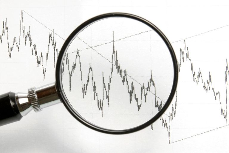 Chart seen through a magnifying glass, symbol for analysis