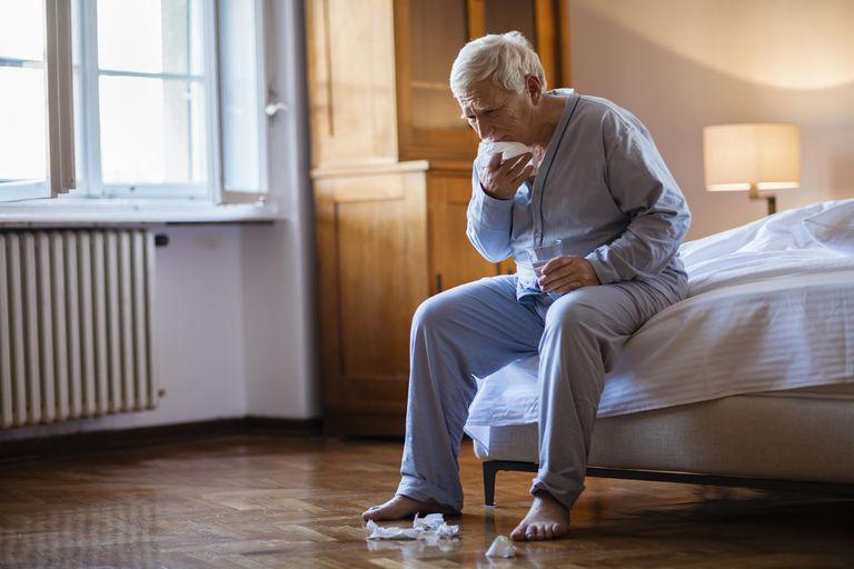 Sick senior man