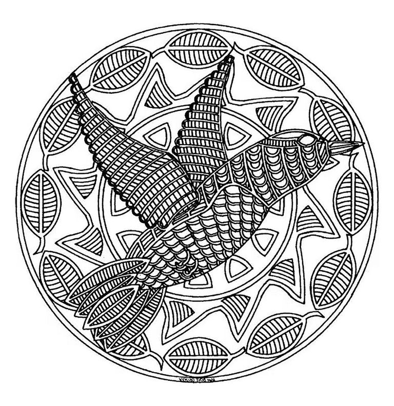 a bird mandala coloring page - Printable Abstract Coloring Pages