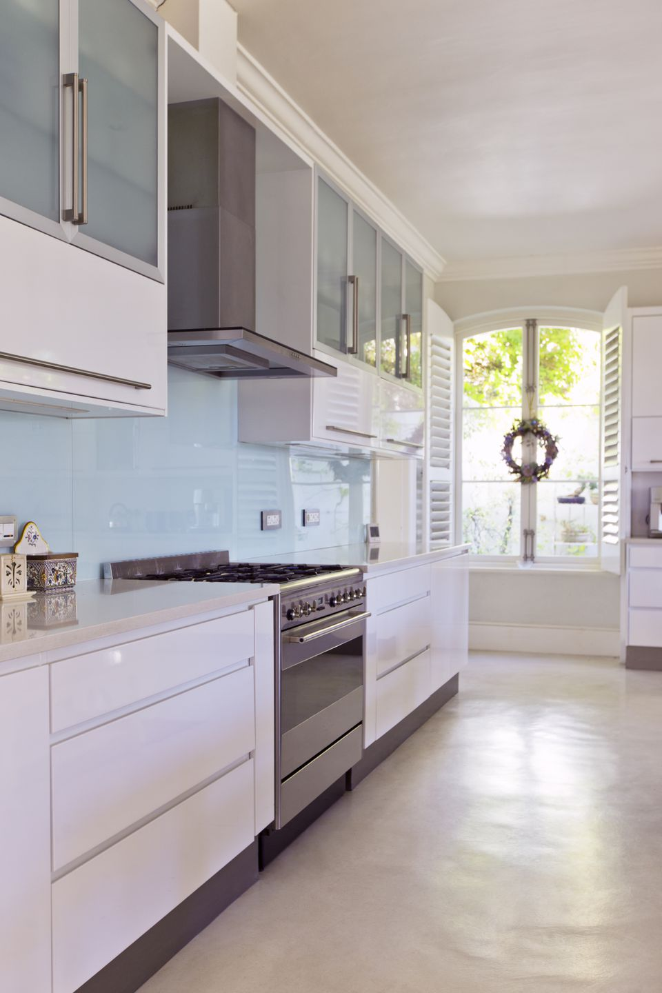 Baby Blue Glass Sheet Backsplash