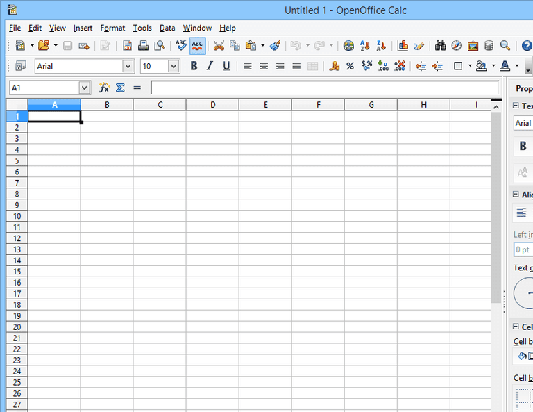 Screenshot of OpenOffice Calc in Windows 8