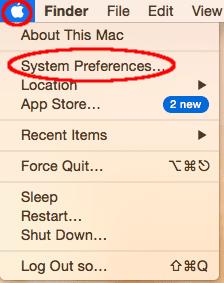 Screenshot of the macOS menu