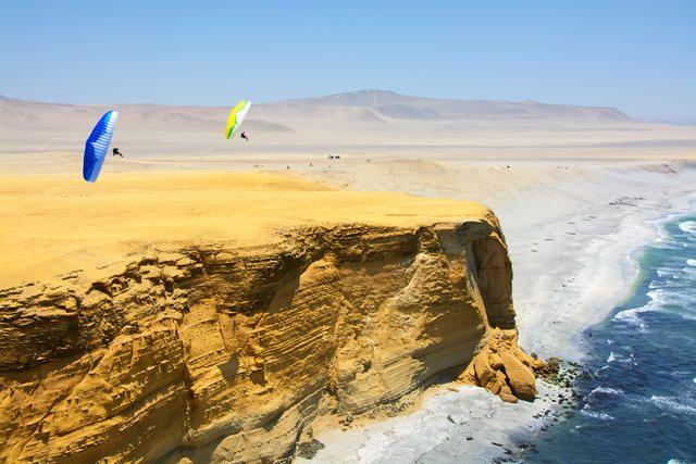 Two Ozone Zero mini-wings fly over Peru.