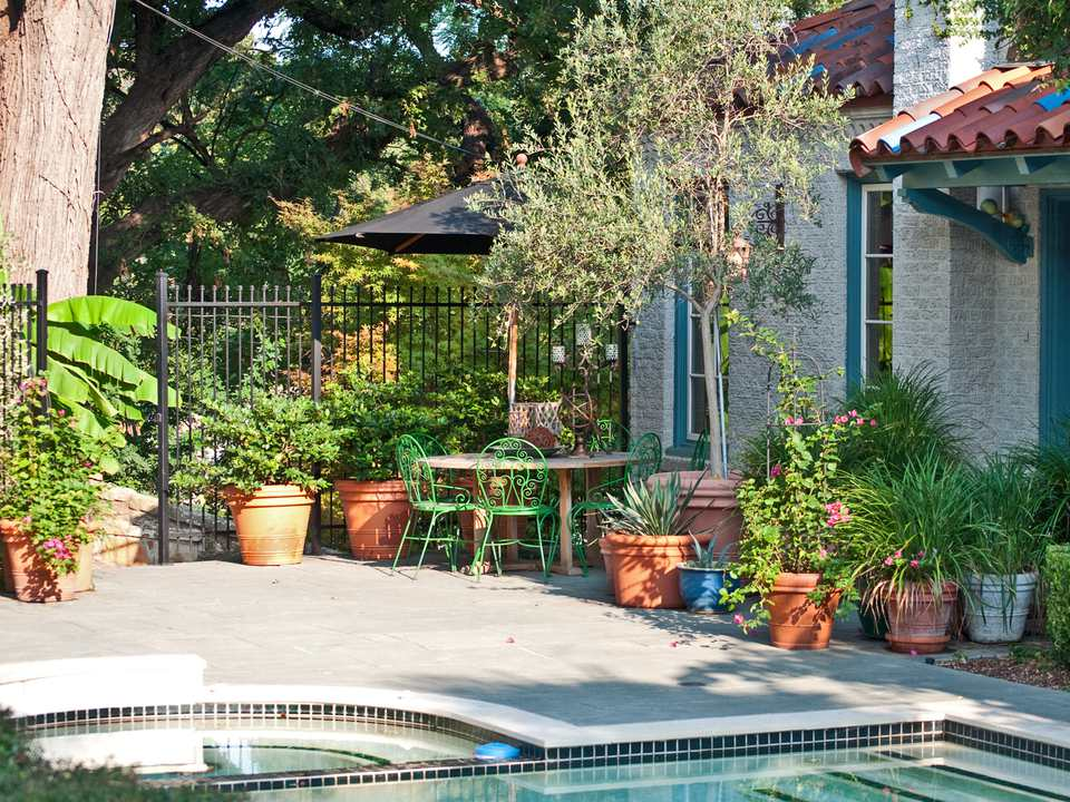 Containers Decorate a Patio