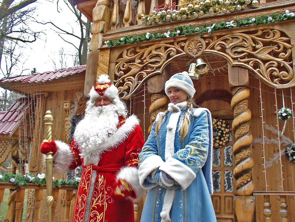 Father Frost of Belarus in Belovezhskaya Pushcha, in winter