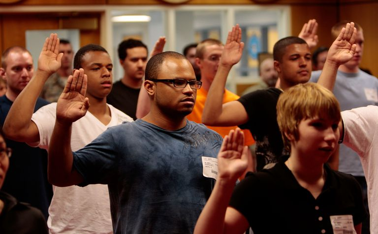Fresh Recruits Take Oath Of Enlistment At NYC's Only Military Base