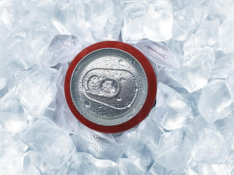 Beverage can in ice