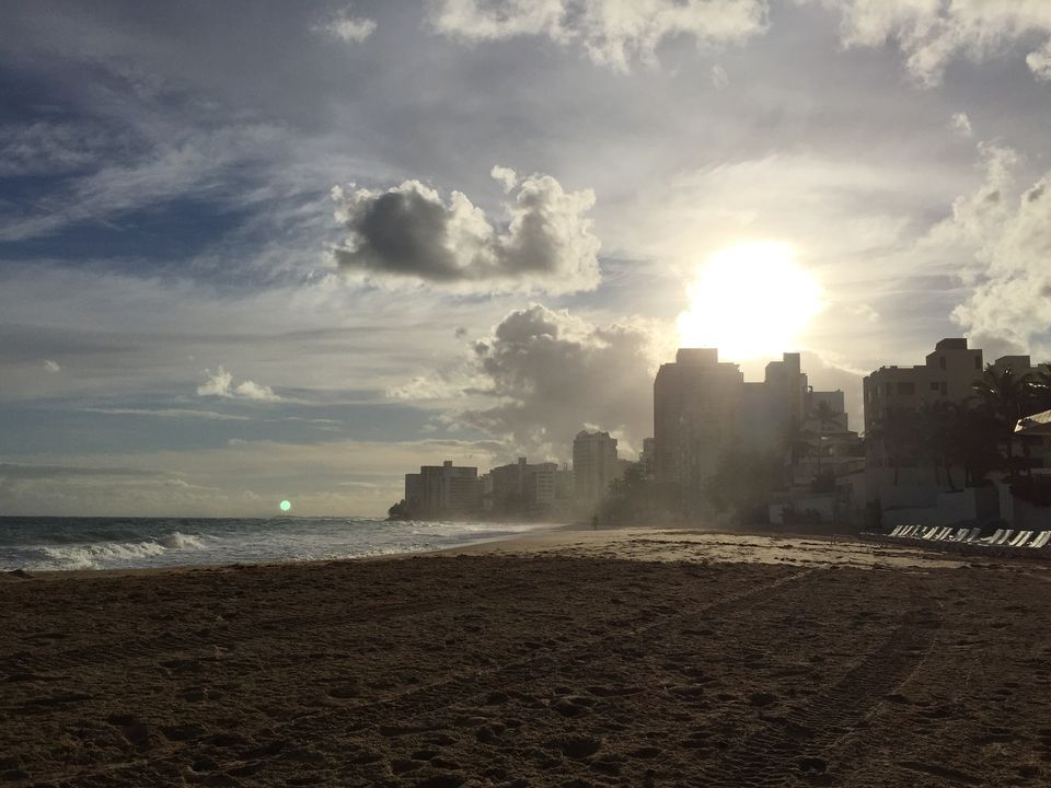 Beach-side in the Condado neighborhood of the Santurce district in San Juan, Puerto Rico.