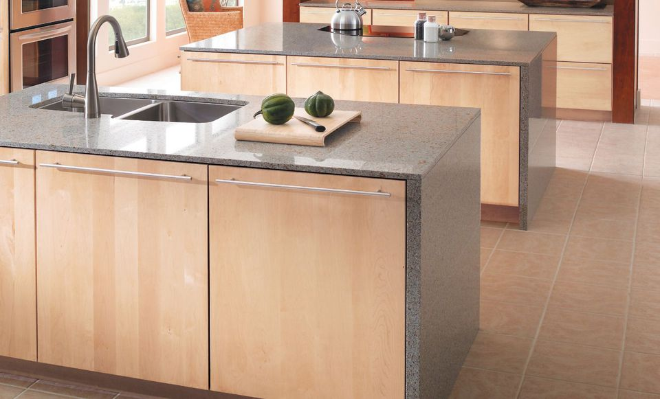 Natural Maple Slab Cabinets In Contemporary Kitchen