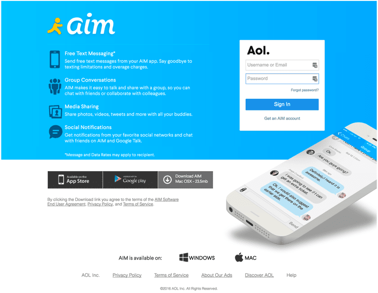AIM website and login page